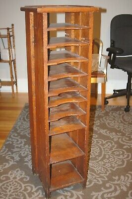 Antique Arts & Crafts Mission Tall Oak File Stand Original Patina
