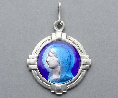 French, Antique Religious Silver Enamel Pendant. St Virgin Mary. Art Deco Medal.