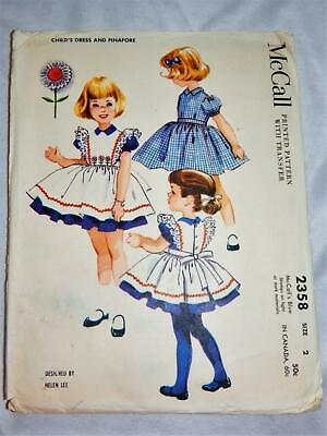1959 Adorable Vintage McCall's Dress & Pinafore Size 2 #2358 All Pieces There
