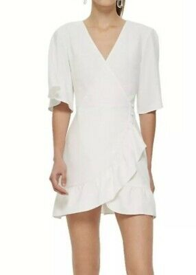 3bedb3c695912 TOPSHOP White Frill Button Side Ruffle Hem Crepe Wrap Mini Dress Size 8