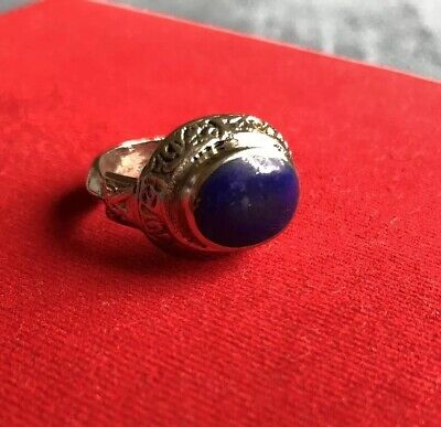 Lapis Lazuli Afghan Kuchi Tribal Ring Ethnic Jewelry Bohemian Carved Ethnic Boho