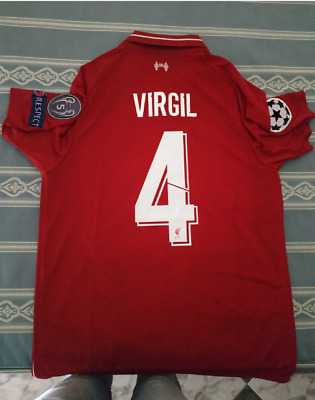 9f1209fde Virgil Van Dijk Liverpool FC Soccer Team New Men s Home Red Soccer Jersey  Size M