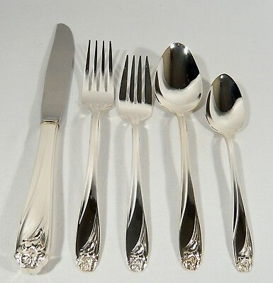 5 Pc Place Setting 1847 Rogers Bros Silver Plated  DAFFODIL  knife forks spoons