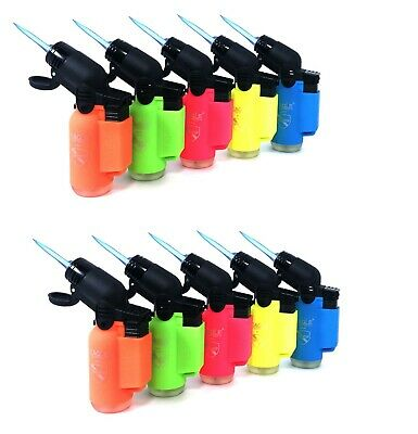 10 Count Wind Proof EAGLE NEON Color TORCH 45 Degree Lighters Outdoor Cigarette