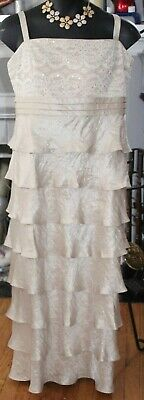 Rm & Richards Mother Of The Bride Champagne Tiered Formal Gown {Sz:18}
