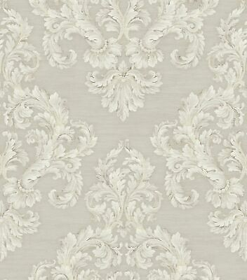 Acanthus Damask Wallpaper in Antique Grey HK90608 from Wallquest