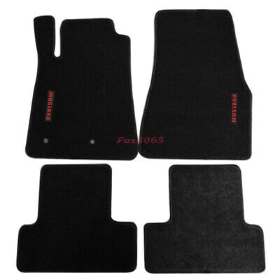 Fits 05-09 Ford Mustang Floor Mats Carpets Nylon Black w/Red Mustang Embrodery