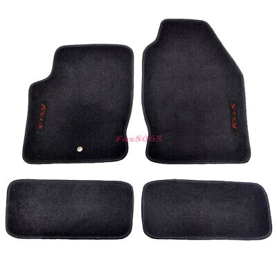 Fits 00-07 Ford Focus Black Nylon Floor Mats Carpets w/ Red Focus Embroidery