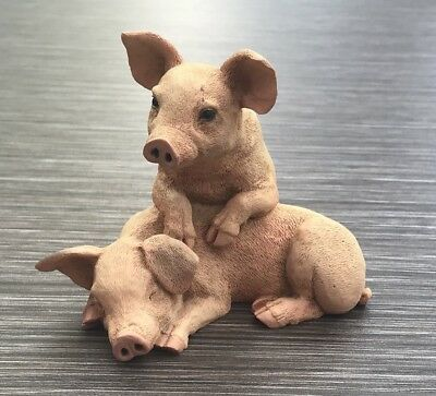 Castagna 1990 Pair Of Farmyard Pigs Made In Italy Rare