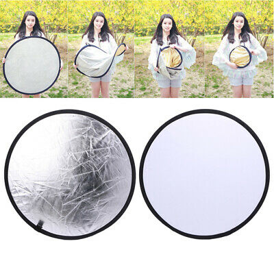 2 in 1 55-60cm Light Mulit Collapsible Disc Photography Reflector Silver White