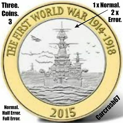 2015 £2 Coin 2 Pound First World War Navy HMS Belfast 3 x Coins 1 Normal 2 Error