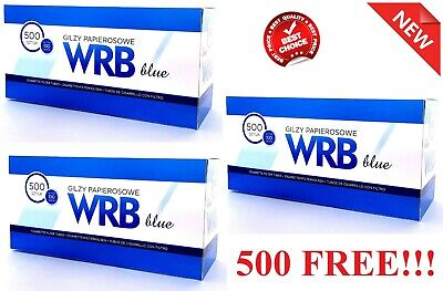 2500 (2x1000+500 FREE!) EMPTY CIGARETTE FILTER TUBES KING SIZE WRB MAKE YOUR OWN