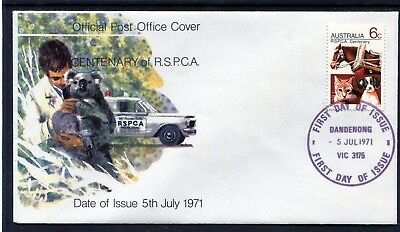 1971 Australia RSPCA Centenary 6c First Day Cover, Mint Condition