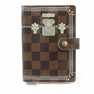 Authentic Louis Vuitton Diary Cover Agenda PM Trunk Brown Damier 118636