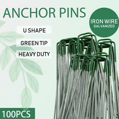 100PCS Anchor U Pegs Fastening Lawn Tent Turf Pins Nail Grass Synthetic Weed Mat