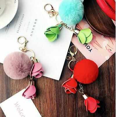 Flower Fur pompom Keychain pom pom Leather Rabbit Fur Key Chain Pompon