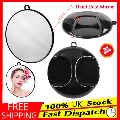 Personal & Hair Salon Use  - Hand Held Round Mirror Hung Up Hold - Black Fashion