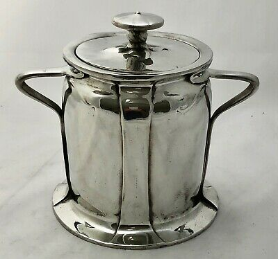 rare liberty & co tudric pewter biscuit  barrel by C F A Voysey early mark 059