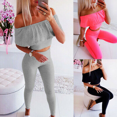 Fashion Women's Skinny Off Shoulder Crop Tops Blouse + Pants Bodycon Two Piece