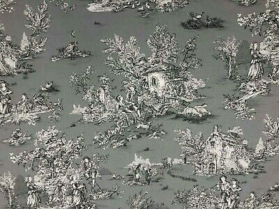 French Pastorale Toile De Jouy Linen Fabric in Grey - Double Width 280cm Wide