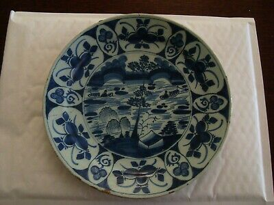 18th Century delft tin glaze plate in Chinese Style   20/80