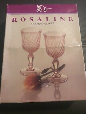 Vintage 6 Rosaline Pink Sherry Glasses In Original Box