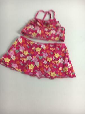 Girls M&Co Pink Floral Pink 2 Piece Bikini Age 7-8 Years Swimsuit