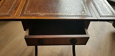 Antique Regency Style Lyre End Mahogany Leather Top Sofa Table