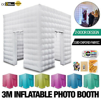 2 Doors Inflatable LED Light Photo Booth Tent 3M Party Colorful Spacious 9.8ft