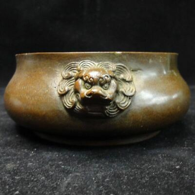 "Old Chinese Bronze ""FooDog"" Heads Incense Burner Censer Marked ""XuanDe"""