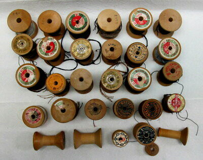 Silk Buttonhole Thread & Antique Wooden Spools Lot of 30