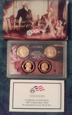 2007 US Mint Presidential $1 Coin Proof Set complete with box and COA