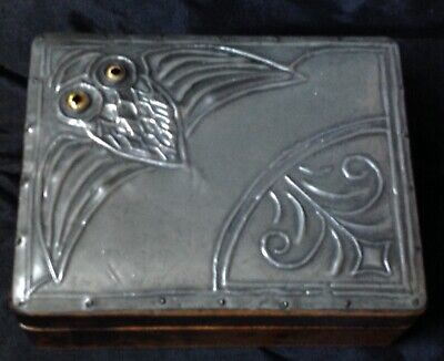 Arts & Crafts Secessionist Pewter Mounted Lid Box Adorned With Owl Decoration