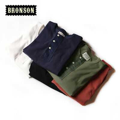 Bronson Vintage Ribbed Cuffs Henley Tee Shirts Summer Men's Basic T-Shirts