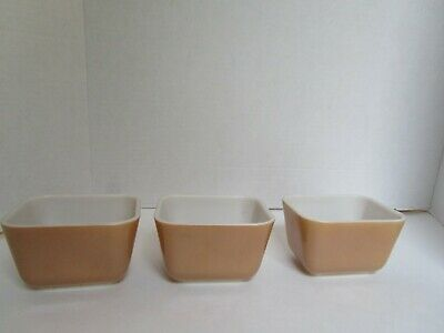 Vintage Pyrex Small Tan Brown Refrigerator Dishes No Lids Set of 3