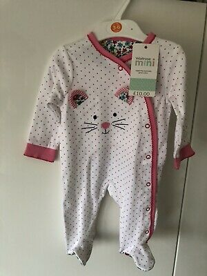 Waitrose Mini Baby Girls Sleepsuit Age 3-6 Months Brand New With Tags Cost £10