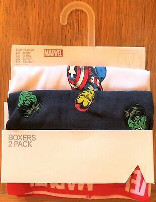 New Official H&M Marvel Superheroes 2 PK Baby Boys Boxer Shorts Sizes 2-10Yrs