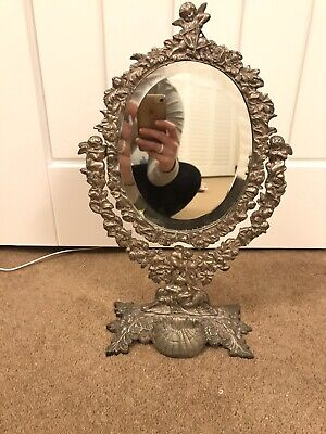 Antique Sterling silver Mirror Cherub Dressing Table