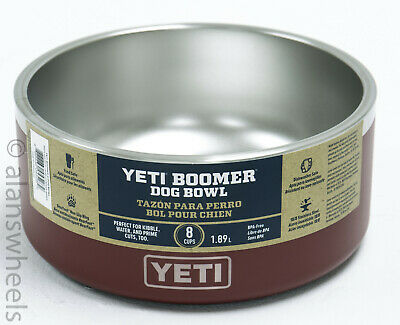 Brand New Yeti Boomer Dog Bowl Dish 8 Cups Brick Red Stainless Steel Heavy Duty!
