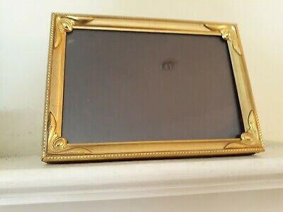 """Antique Vintage Solid Brass Ornate Easel Picture Frame Holds a 5"""" x 7"""" Photo"""
