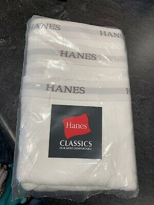 Men's Hanes Boxer Briefs White Pack Of 3 Pair New Big & Tall Size 5XL