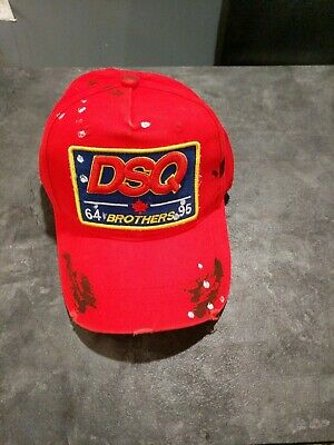 cb7e586c8e805e New Dsquared Distressed Brothers DSQ2 Dsquared2 Baseball Cap Red With Tags  OMG