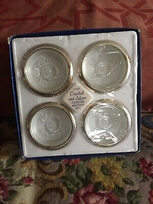 VINTAGE LEONARD CRYSTAL And SILVER PLATED COASTERS Made In Italy