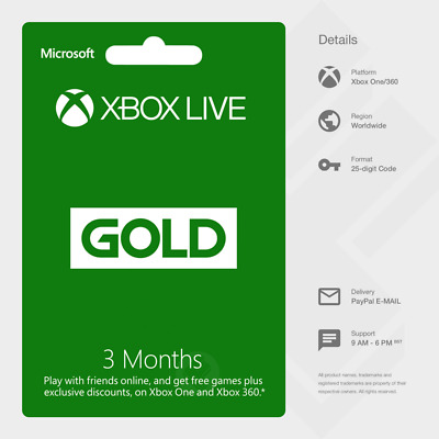 Xbox Live Gold 3 Months Membership (Xbox One/360) - Digital Code [GLOBAL]