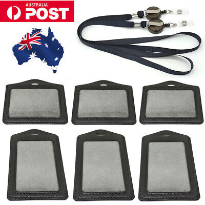 4PCS Leather Business ID Badge Card Holder & Retractable Lanyard Neck Strap Band