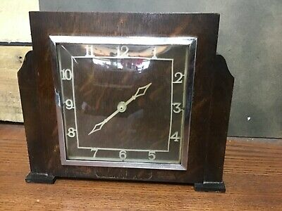 Vintage Art Deco cathedral style wooden wind up mantle clock