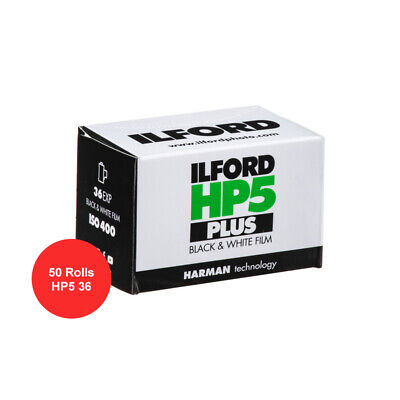 50 Rolls Ilford HP5 Plus ISO 400 36 Exp. Black and White 35mm Film FRESH