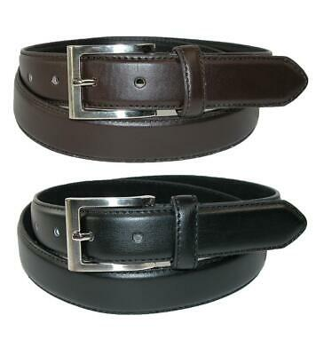 New CTM Men's Leather Basic Dress Belt with Silver Buckle (Pack of 2 Colors)