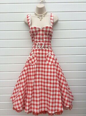 Gingham Top & Skirt,Collectif,Rockabilly,50'S,60'S,Vintage Style,Size 14/16,Nwts