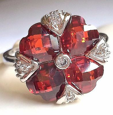 Silver Art Deco Cocktail Ring Plated Red Cubic Zirconia Vintage Style Size 9 10